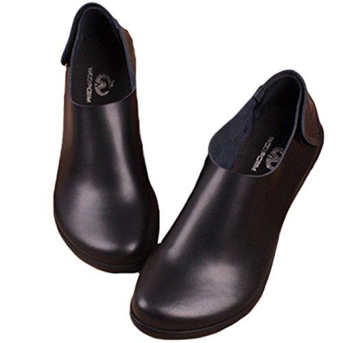 MatchLife Femme Cuir Velcro Plat Chaussures Noir MddWokM1