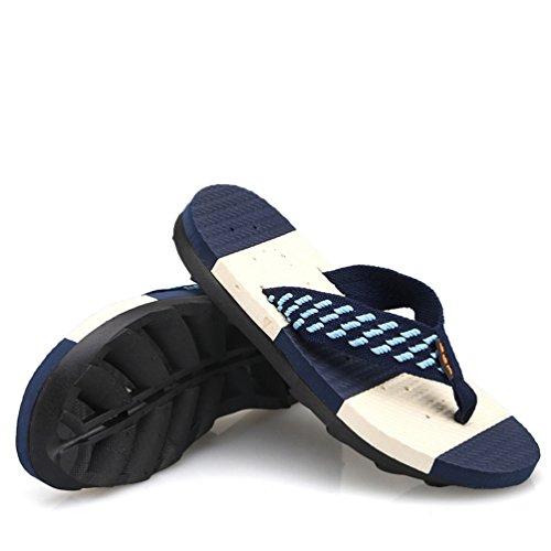 Hombre Con Libre Plana Sandalias Chanclas Para Oscuro Al Flops De Flip Yiiquanan Aire Azul Playa Plataforma OcYWTIcq