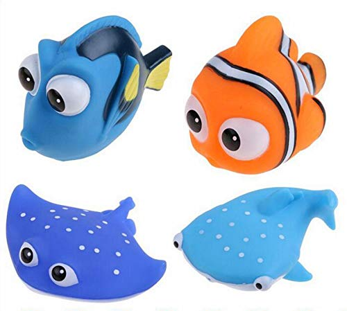 - NF orange 4 PCS Finding Dory Nemo Squirt Bath Squirters Toys Figures for Kids Baby Shower Swim