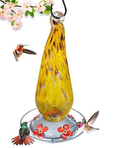 (Grateful Gnome - Hummingbird Feeder - Hand Blown Glass - Tall Yellow Daisies - 16 Fluid Ounces)