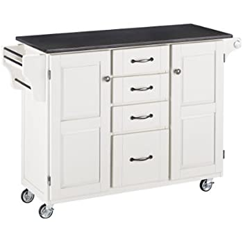Home Styles 9100 1024 Create A Cart 9100 Series Cuisine Cart With Black Granite  Top, White, 52 1/2 Inch