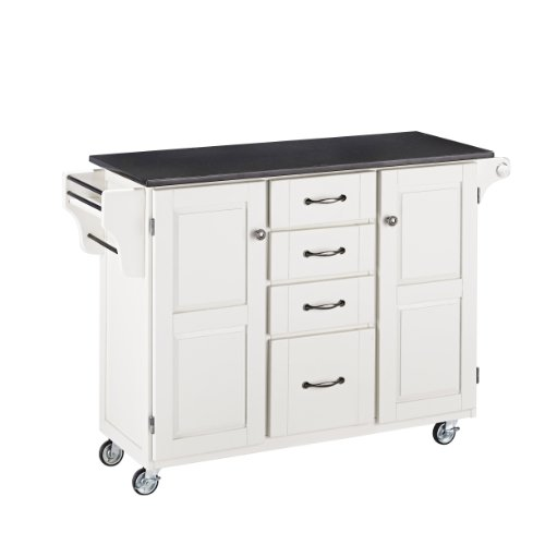 (Create-a-Cart White 2 Door Cabinet Kitchen Cart with Black Granite Top by Home Styles)