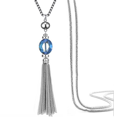 Perfect 4U Crystal CZ Station Y shape Necklace Chain Sweater Chain and Tassel Long Neck Bar for Women