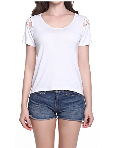 Solid t shirts, Women Cut Out Shoulder T Shirts Short Sleeves Off Cold Shoulder Tee Tops White (Girls Pretty Tops)