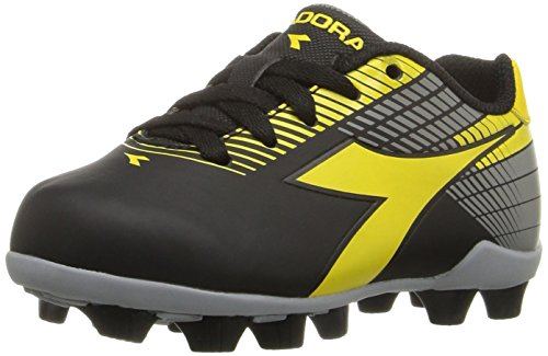 Diadora Kids' Ladro MD Jr Soccer Shoe, Black/Yellow/Grey, 9 M US Little Kid