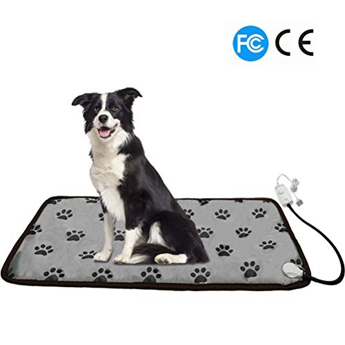 PUPTECK Pet Heating Pad for Dog Cat Electric Heated Pads - Waterproof & Chew Resistant Mat for Indoor Grey Extra Large