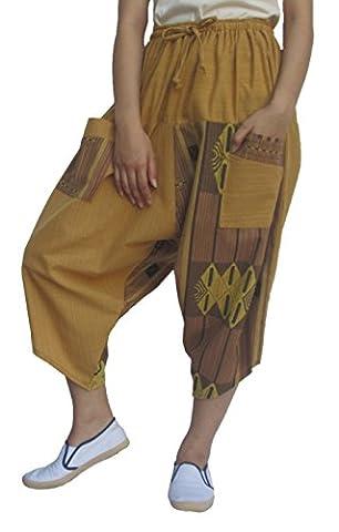 Wynnthaishop 100% Cotton Men Women Baggy japanese style pants mens (S-XL, Light brown11) - Goa Light