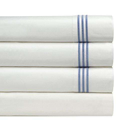 Cotton Sheet Set Emb - Pointehaven 300 Thread Count Egyptian Cotton Embroidered Pillowcase, Standard, Blue