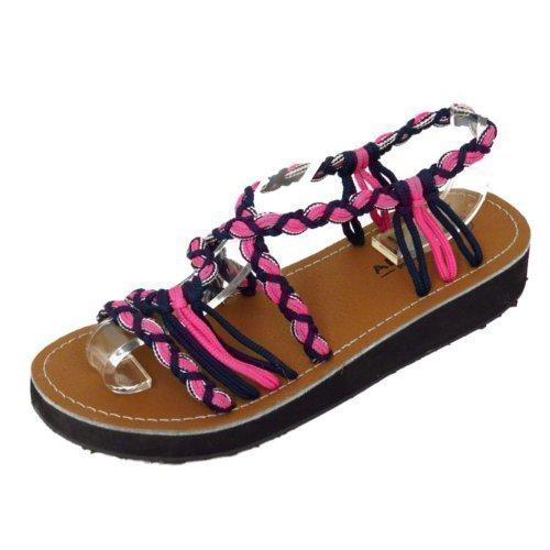Damen rosa kleiner Keilabsatz Gladiator Sommersandalen mit Riemen Flip Flop Schuhe Größen 3-8