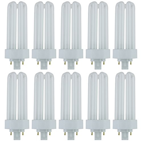 Sunlite PLT26/E/SP27K/10PK Fluorescent 26W PLD Triple U-Shaped Twin Tube CFL Bulbs, 4-Pin GX24Q-3 Base, 2700K Warm White, 10 Pack, 2700K-Warm ()