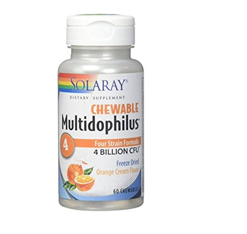 (Solaray Multidophilus 4 Freeze Dried Orange Cream 4bil Chewable Tablet, 60 Count)