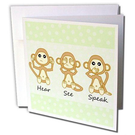 - 3dRose Hear No See No Speak No Evil - Cute Baby Monkeys - Greeting Cards, 6 x 6 inches, set of 12 (gc_6126_2)