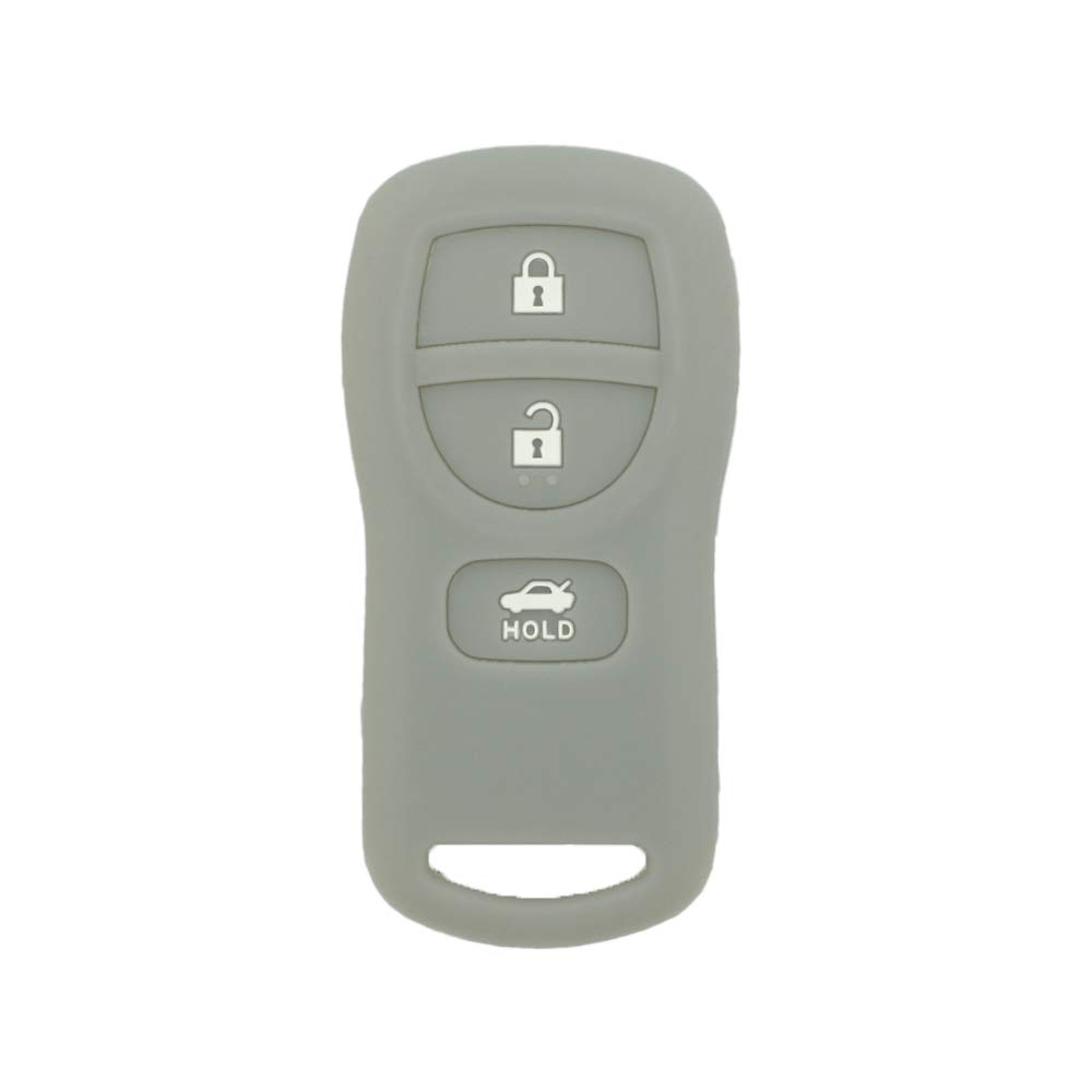 SEGADEN Silicone Cover Protector Case Skin Jacket fit for NISSAN 3 Button Remote Key Fob CV4509 Gray