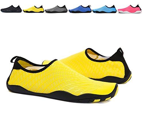 BTDREAM Männer und Frauen Quick-Dry Barfuß Wasser Haut Schuhe Aqua Socken mit Drainage-Loch für Beach Swim Surf Gelb