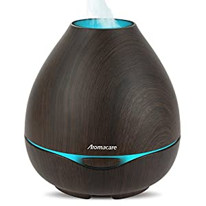 Kekilo Ultrasonic Air Purifier Cool Mist Humidifier as Best Giftset, 300ml Aroma Essential Oil Diffuser with 7 Color Changing for Bedroom Yoga Spa Living Room TT-501 (Dark Wood)
