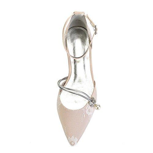 Zxstz Pointu Chaussures Talon Fermé Mariages Champagne Satin Dentelle Orteils Bas Femmes Bas De Party Talons Mariage Nuptiale Chaussures Prom De Satin 55w6qrBx4