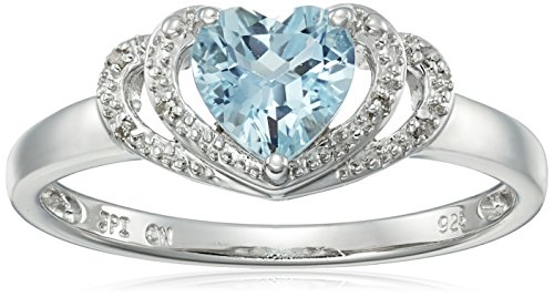 Sterling Silver Aquamarine and Diamond Accent Open Halo Heart Ring, Size 8 (Diamond Aquamarine Heart Ring)