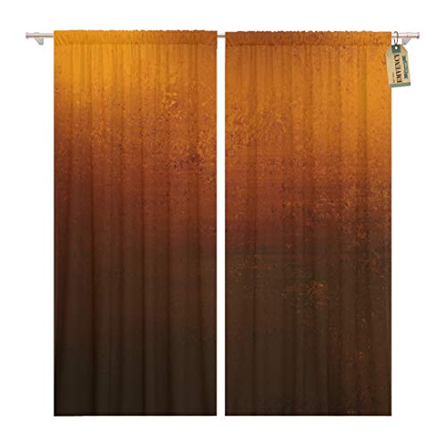 Orange Copper Colored Warm Brown Earth Tones and Dramatic Home Decor Rod Pocket Drapes 2 Panels Curtain 104 x 96 inches ()