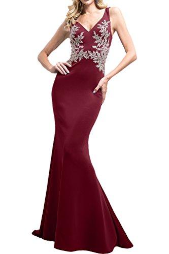 Abendkleider ausschnitt Marie Braut Weinrot Fuchsia Bodenlang Ballkleider Brautmutterkleider V Trumpet La g7YqOpO