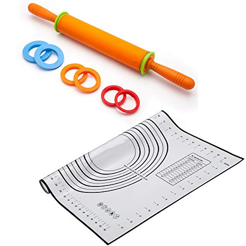 (Rolling Pin Pastry Mat Set -XXL Size 24''x16'' Silicone BPA Free Heat Resistant Non-Slip Baking Sheet with Measurement and Non-Stick Adjustable Roller with Thickness Rings for Baking)