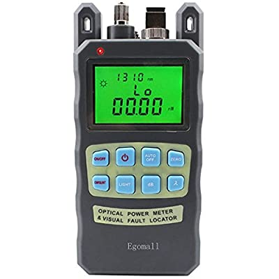 Egomall Fiber Optic Cable Tester -70 to +10dbm and 1mw 3.1mi Portable Optic Power Meter with Sc and Fc Connector Fiber Tester, Batteries Included
