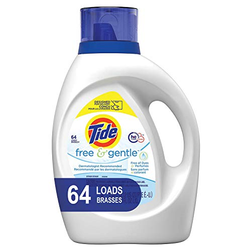 - Tide Free and Gentle HE Laundry Detergent Liquid, 100 oz, 64 Loads, Unscented and Hypoallergenic for Sensitive Skin, Free and Clear of Dyes and Perfumes (Packaging May Vary)