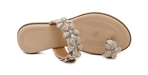 Sandalias femeninas flores de diamantes sandalias planas de los zapatos de gran tamaño apricot