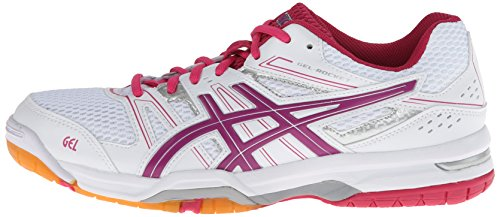 ASICS Women's Gel Rocket 7 Volley Ball Shoe,White/Fuchsia/Magenta,10 M US