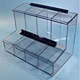 S-Curve FCD-01 Acrylic 4 Compartment Dispenser with Access Tray and Lid for Ear Plugs, Finger Cots and Eye Glass Cleaners, 1/4'' Thickness, 17'' Width, 12'' Height, 9'' Depth, Clear