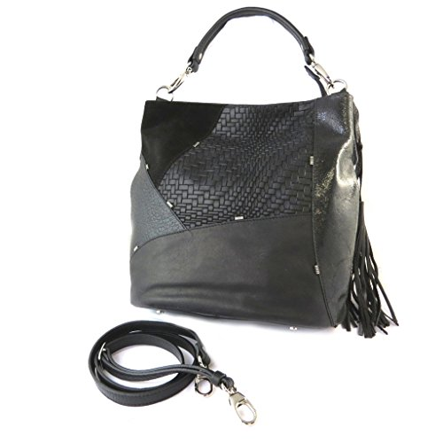 Bolsa de cuero 'Gianni Conti'mosaico negro - 30x30x19 cm.