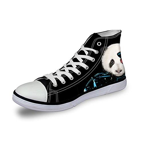 Per Te Su Misura Scarpe Sportive Di Tela Uomo Animali Stampati Neri Sneakers Alte Alte Per Panda Trainer