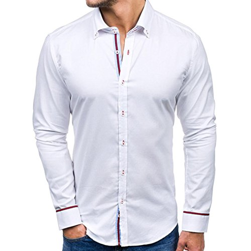 Casual Freedom V-neck Top - Fitfulvan Men Shirt Fashion Solid Color Male Casual Long Sleeve Shirt(White,Asian XL = US L)