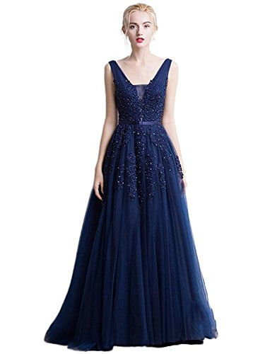 Elegant Long Sleeveless V-Neck Lace&Tulle Bridesmaid Prom Dress (Navy,6)