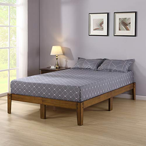 Olee Sleep VC14SF03Q Smart Wood Platform Bed Frame, Queen, Light -