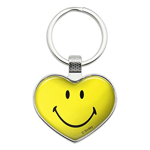 (Smiley Smile Happy Yellow Face Heart Love Metal Keychain Key Chain Ring)