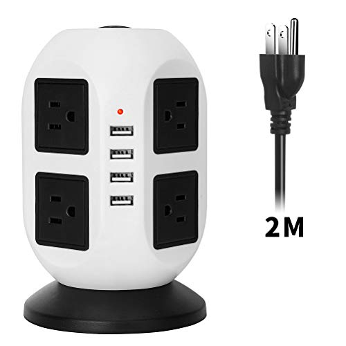 (Vertical Power Strip,EletecPro Tower Smart Extension Lead Socket 2M/5.56ft With Surge Protector Overload Protection 8 outlets and 4 USB ports Charging Ports Station Cord (White))