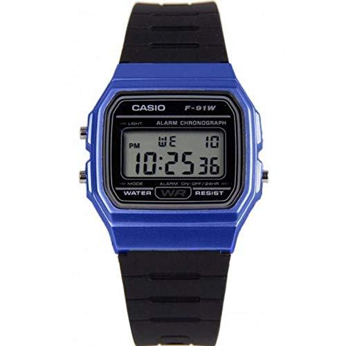 Casio Men's 'Vintage' Quartz Plastic and Resin Casual Watch, Color:Black (Model: F-91WM-2ACF)