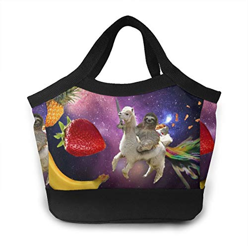 FANTASY SPACE Lunch Box Funny Sloth Riding Llama Gourmet Lunchbox Organizer for Men Women Adults, Work School Picnic Beach Lunch Holder Polyester Handbag Reusable Drinks Holder from FANTASY SPACE