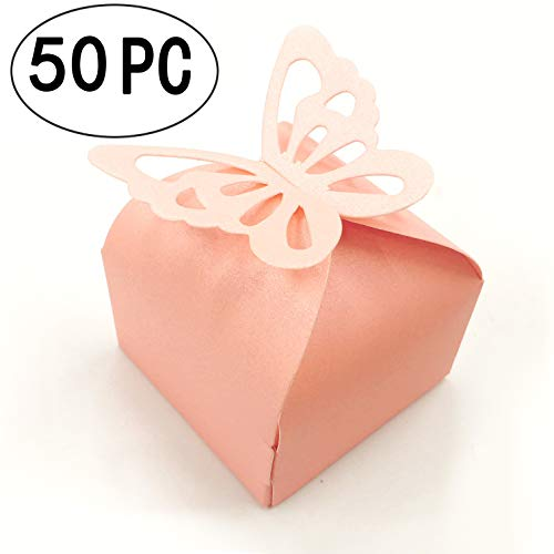 Pink Cube Butterfly Candy Wedding Party Favors Gift Boxes Thank You Treat Boxes Graduation Baby Shower Nursery Party Boxes 2x2x2 inch, 50pc -