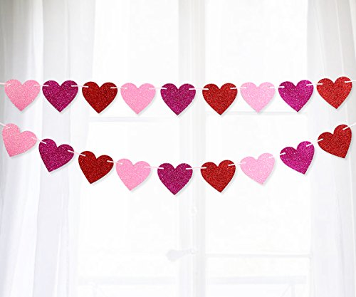 Moon Boat Glitter Heart Garland Ribbon Banner Red Pink Rosy - Valentine's Day Wedding Party Decorations Ornaments -