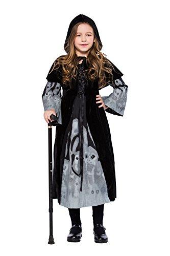Joygown Girl's Skull Devil Hooded Halloween Dressing Up Outfit Costume -