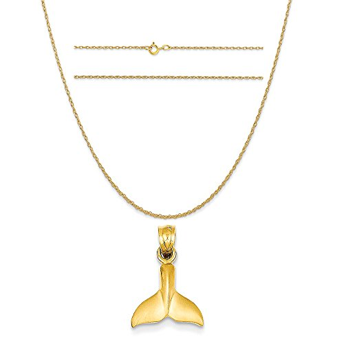 K&C 14k Yellow Gold Whale Tail Pendant on a 14K Yellow Gold Carded Rope Chain Necklace, 20