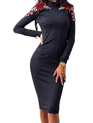 Dress Slim Black Embroidered Long Coolred Neck Women Fitting Midi Sleeve Mock 7wPzzY