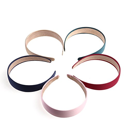 Frcolor Wide Headbands ,5Pcs Pure-Color Hard Headbands with
