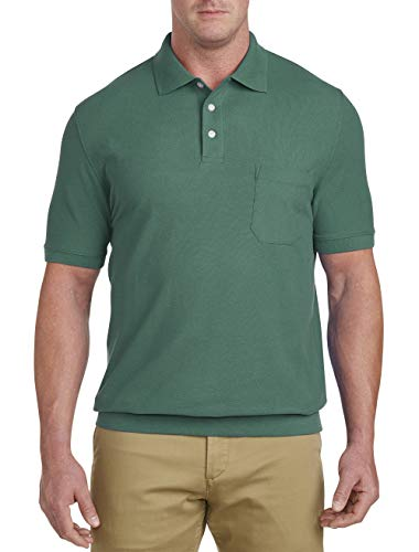Harbor Bay by DXL Big and Tall Pique Banded-Bottom Shirt, Bistro Green 3X-Tall