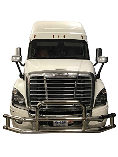 Semi Truck Grille Guard | Deer Guard Made of Heavy Duty 14 Gauge Steel Installs Easy with No Drilling or Modification, Front Bumper Cover Fits Freightliner Cascadia and Volvo VNL Models