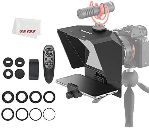 Pronstoor - Teleprompter para teléfono y cámara réflex digital con control remoto, portátil para cinta de vídeo