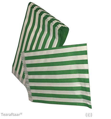Tezraftaar® 100 5″x7″ Candy Stripe Paper Bags Sweet Favour Buffet Gift Shop Wedding Party Sweets Cake (Choose Colour) (Green)