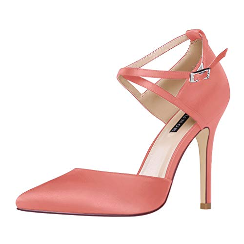 ERIJUNOR E2264 Women High Heel Ankle Strap Satin Dress Pumps Evening Prom Wedding Shoes Coral Size 7