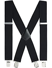 "Suspenders for Men Heavy Duty, 2"" Wide X-Back Adjustable Elastic Clip Suspenders"